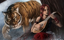 Girl and tiger, violin, art painting