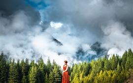 Preview wallpaper Girl, skirt, mountains, forest, fog