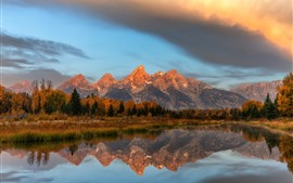 Grand Teton National Park, mountains, trees, clouds, water reflection
