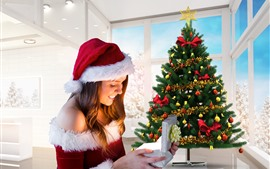 Preview wallpaper Happy Christmas girl, tree, gift