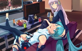 Preview wallpaper Hatsune Miku, blue and pink hair anime girls in living room