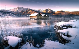 Дома, снег, озеро, зима, горы