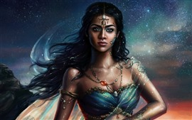Preview wallpaper Indian girl, princesses, stars, fantasy picture