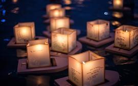Aperçu fond d'écran Lanterne, rivière, nuit