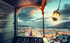 Фонарь, ветер, город, маленькая девочка, снег