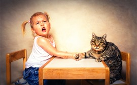 Preview wallpaper Little girl and cat, arm wrestling, funny picture