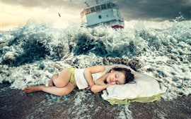 Preview wallpaper Little girl sleep on beach, sea waves, splash, ship