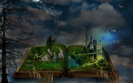 Preview wallpaper Magic book, grass, castle, moon, trees, birds, night, creative picture