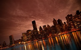 Preview wallpaper Manhattan, city at night, skyscrapers, lights, river, USA