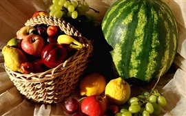 Preview wallpaper Many kinds of fruit, watermelon, peach, grapes, lemon, apples, basket