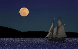 Aperçu fond d'écran Lune, voilier, mer, nuit