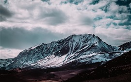 Preview wallpaper Mountain, snow, clouds, winter, nature