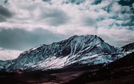 Montanha, neve, nuvens, inverno, natureza