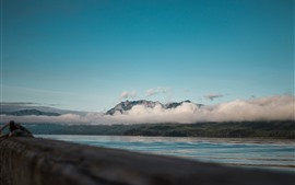 Mountains, clouds, river, forest, nature