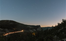 Night, mountains, trees, bend road, light lines, starry