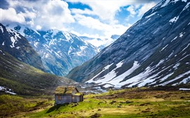 Preview wallpaper Norway, mountain, hut, white clouds, sunshine