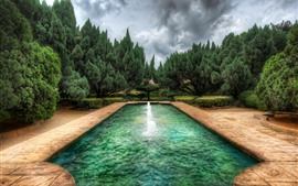 Park, pool, fountain, trees, clouds