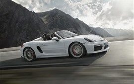 Preview wallpaper Porsche boxster spyder 981 white convertible speed