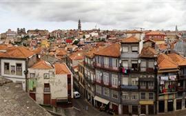 미리보기 배경 화면 포르투갈, 포르투, 도시, 주택