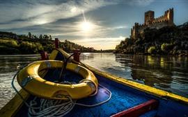 Aperçu fond d'écran Portugal, château, bateau, rivière