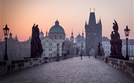Preview wallpaper Prague, Charles bridge, morning, fog