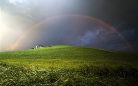 Preview wallpaper Rainbow, wheat field, clouds, house, storm