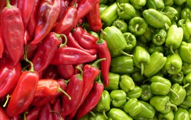 Preview wallpaper Red and green peppers, vegetable