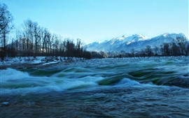 River, mountains, trees, snow, winter