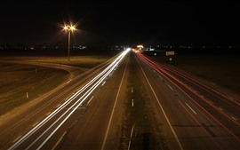 Preview wallpaper Road, light lines, night, city, Russia