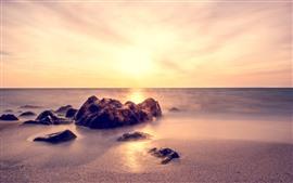 Preview wallpaper Rocks, sands, sea, fog