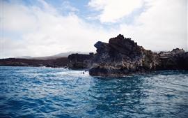 Скалы, море, волны, облака, природа