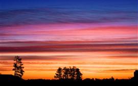Силуэт, деревья, красное небо, облака, закат