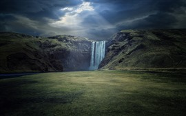 Preview wallpaper Skogafoss, waterfall, Iceland, sun rays, clouds, cliff