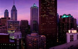 Arranha-céus, luzes, noite, Filadélfia, EUA