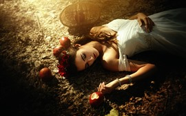 Preview wallpaper Snow White, girl, apples, fairy tale