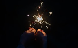 Preview wallpaper Sparks, fireworks, two hands, night