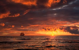 Preview wallpaper Sunset, sea, clouds, sail ship