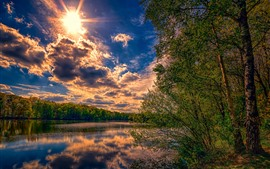 Trees, sunshine, clouds, river, nature landscape