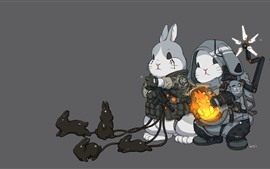 Two rabbits, art picture