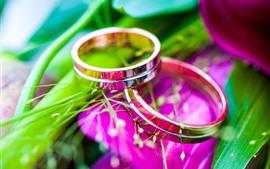 Dois anéis, romântico, flores