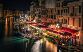 Preview wallpaper Venice, night, lights, river, boats, Italy