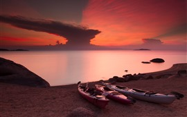 預覽桌布 津巴布韋,馬拉維湖,紅色的天空,日落