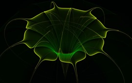 Preview wallpaper Abstract green flower, black background