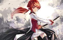 Anime girl, katana, cabelo vermelho