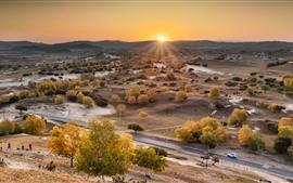 Красивая осень в Башанге, деревья, восход