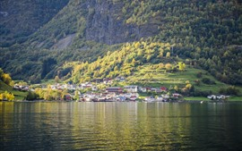 Preview wallpaper Beautiful landscape, Norway, village, slope, trees, river