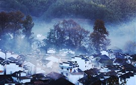 Preview wallpaper Beautiful village, trees, fog, morning, Shicheng, China