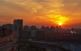 Preview wallpaper Beijing, China, city, sunset, high-speed rail, train