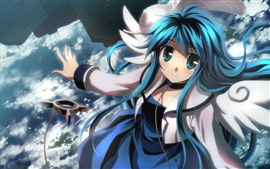 Blue hair and eyes anime girl, smile, sky