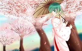 Preview wallpaper Blue hair anime girl, umbrella, sakura